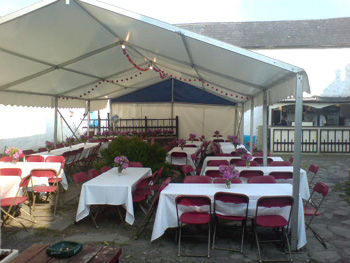 party tent in The Valley House courtyard